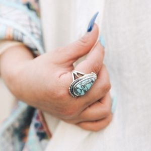 Raindrop Turquoise Silver Fashion Ring